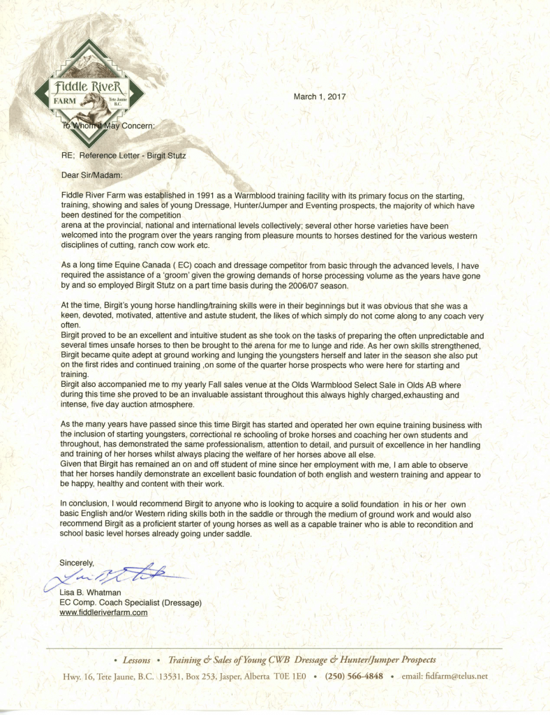 Reference Letter from Lisa B. Whitman